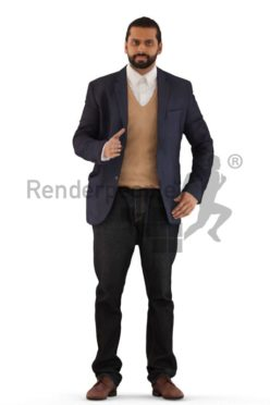 3d people business, indian 3d man standing and shaking hands