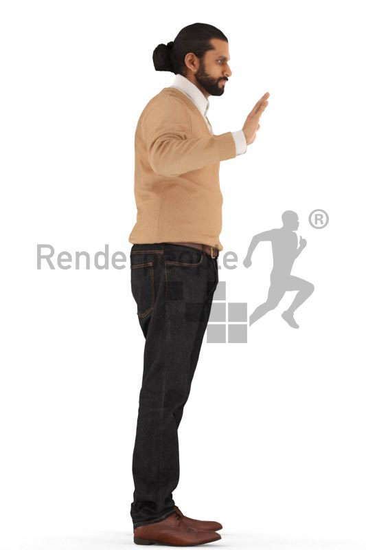 3d people business, indian 3d man standing, waving