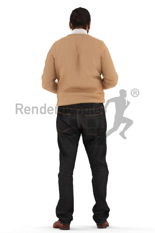 3d people business, indian 3d man standing and looking into his wallet
