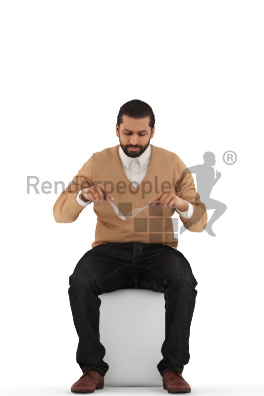 3d people casual, indian 3d man sitting and eating