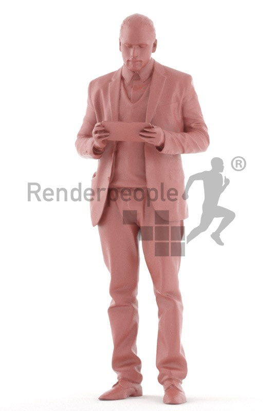 3d people business, indian 3d man standing and looking on his tablet
