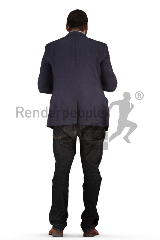 3d people business, indian 3d man standing and looking in his wallet