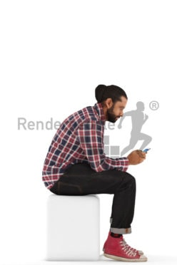 3d people casual, indian 3d man sitting and texting