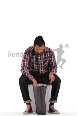 3d people casual, indian 3d man sitting and looking in his shopping bag