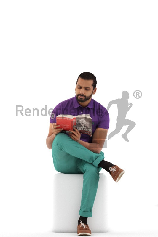 3d people casual, indian 3d man sitting and reading a book