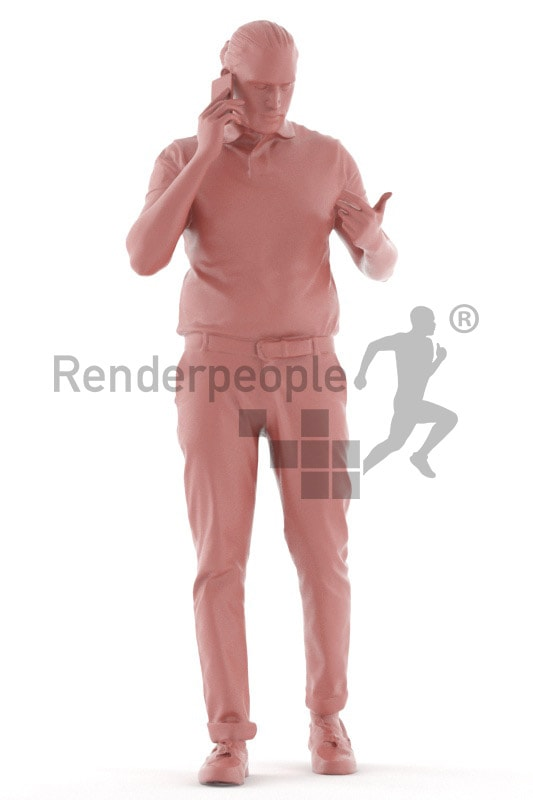 3d people casual, indian 3d man walking looking over his shoulder