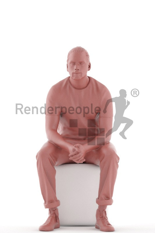 3d people casual, indian 3d man sitting