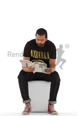 3d people casual, indian 3d man sitting and reading a magazine