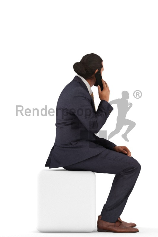 3d people business, indian 3d man sitting and calling