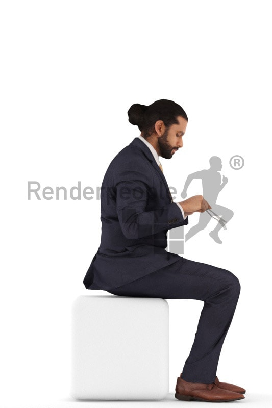 3d people business, indian 3d man sitting and eating