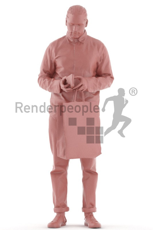 3d people casual, indian 3d man standing and holding his shopping bag
