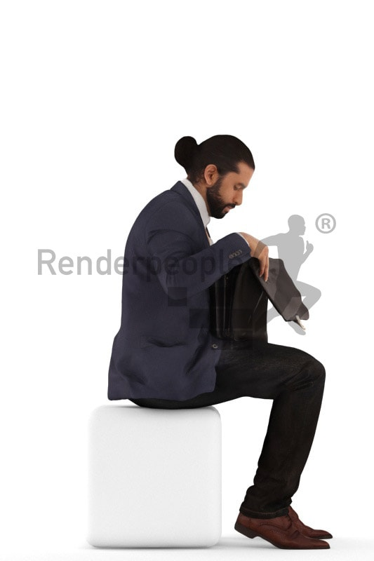 3d people business, indian 3d man sitting and checking briefcase