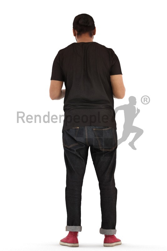 3d people casual, indian 3d man standing and reading a magazine