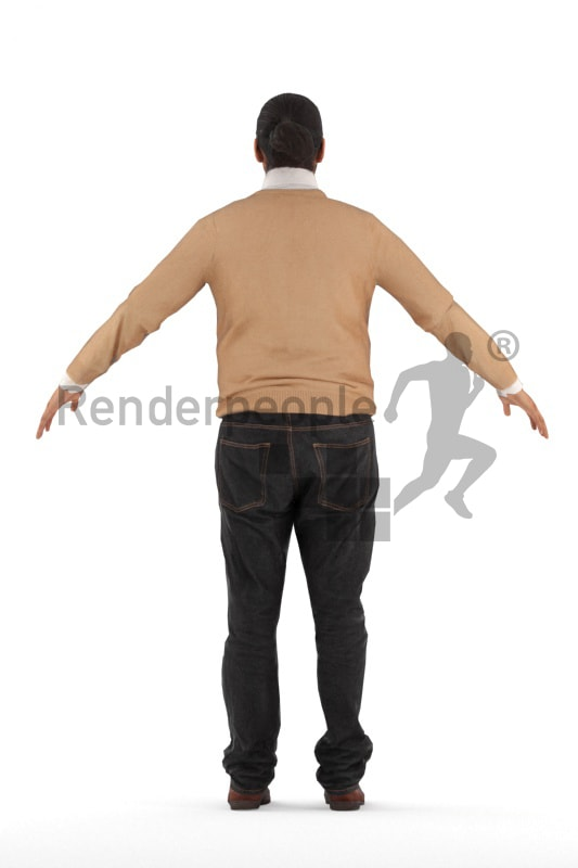 3d people casual, rigged young indian man in A Pose