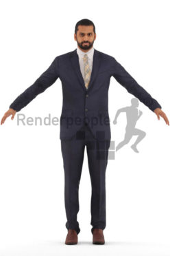 3d people business, rigged young indian man in A Pose