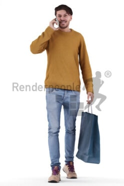 Posed 3D People model for visualization – walking white man, carrying a shoppingbag and calling