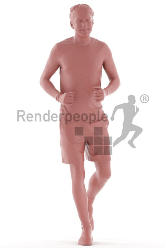 3D People model for 3ds Max and Sketch Up – young man in sports outfit, jogging