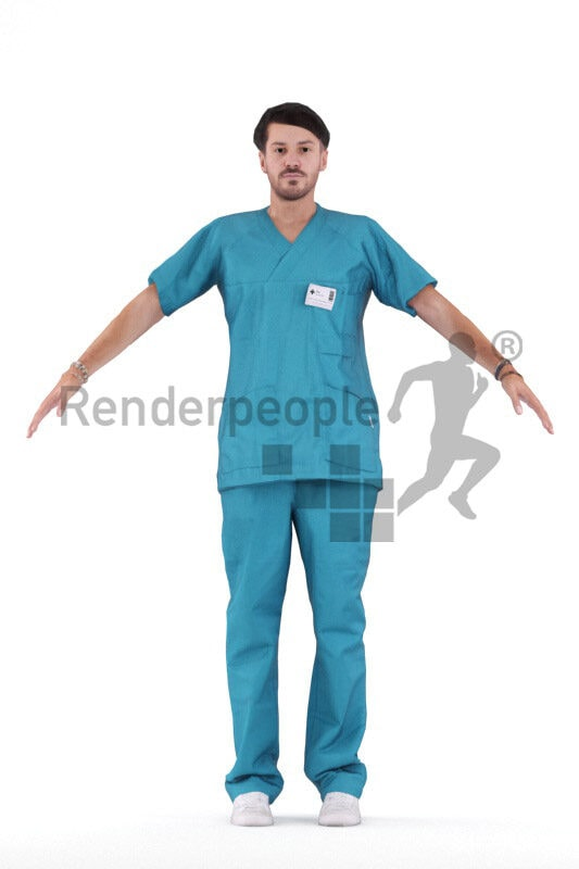 Rigged human 3D model by Renderpeople – european male in healthcare clothes