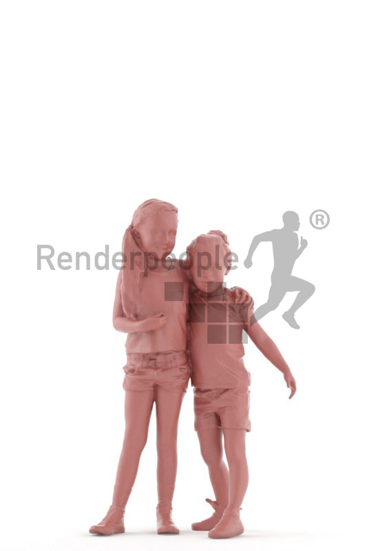 3d people groups, white 3d kids holding each other and smiling