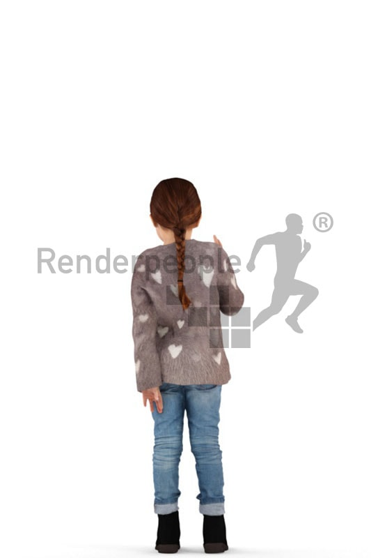 3d people casual, white 3d kid standing and waving her hand