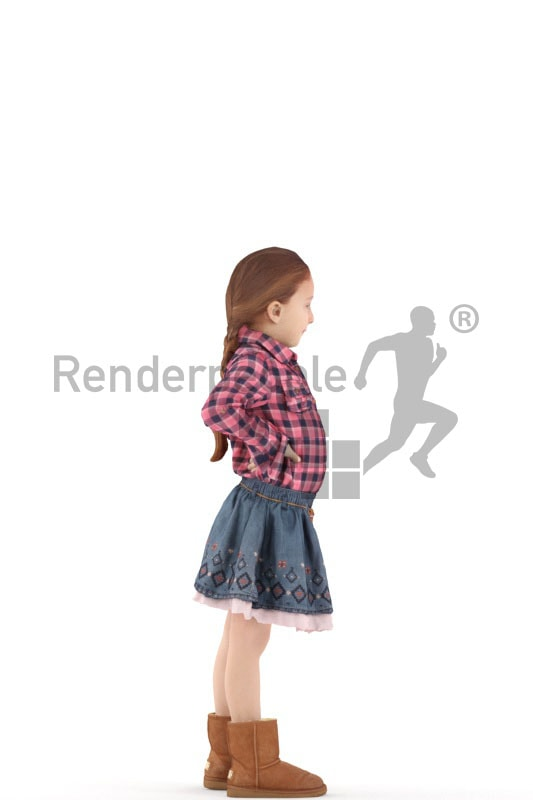 3d people casual, white 3d kid standing