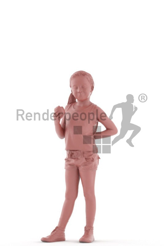 3d people casual, white 3d kid standing and eating an apple