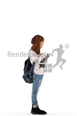 3d people casual, white 3d kid standing and playing with her smartphone and carrying a bag