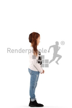3d people casual, white 3d kid standing and smiling
