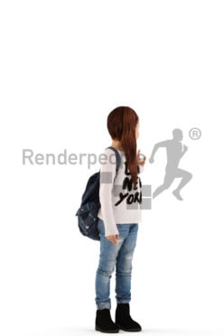 3d people casual, white 3d kid standing and carrying a bag