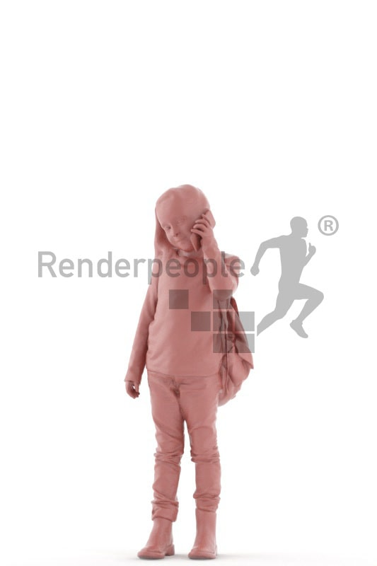 3d people casual, white 3d kid standing and calling somebody
