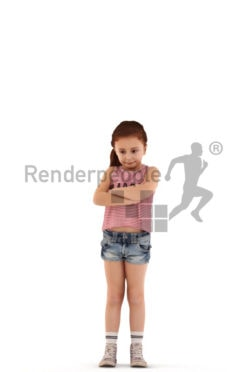 3d people casual, white 3d kid standing with her arms crossed