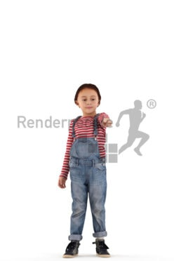 3d people casual, white 3d kid standing and pointing
