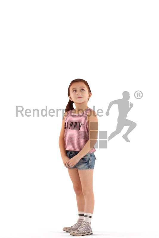 3d people casual, white 3d kid standing and looking up
