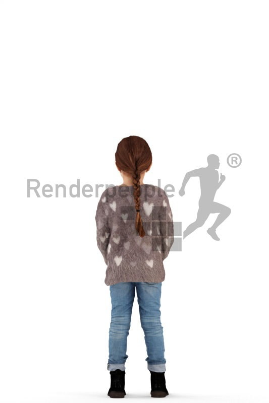 3d people casual, white 3d kid standing and holding her hands