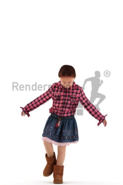 3d people casual, white 3d kid standing and playing