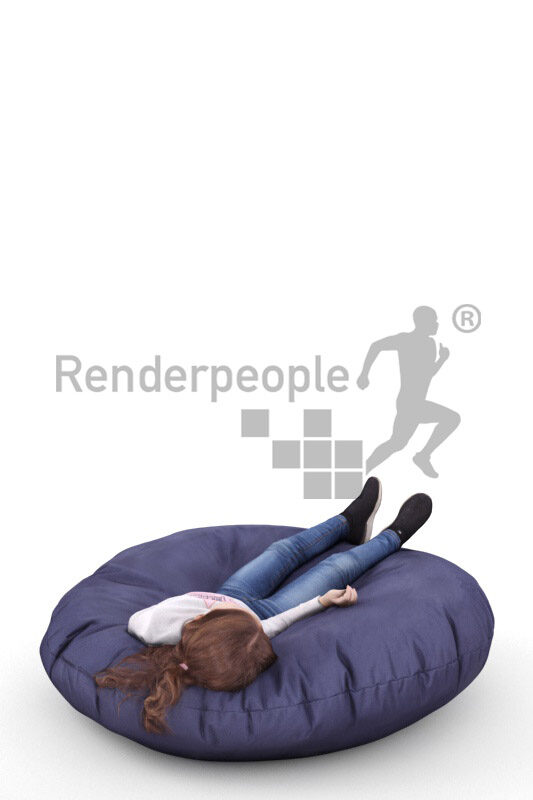 3D People model for 3ds Max and Sketch Up – little european girl, in casual clothes, laying in beanbag