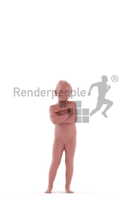 Posed 3D People model by Renderpeople – little european girl wearing a swimmsuit, standing