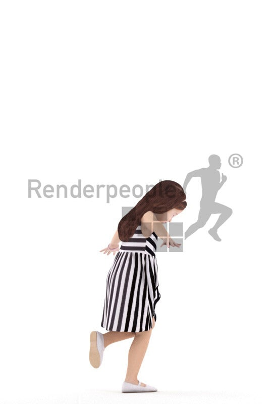 Posed 3D People model for renderings – european girl in casual dress, playing outdoor