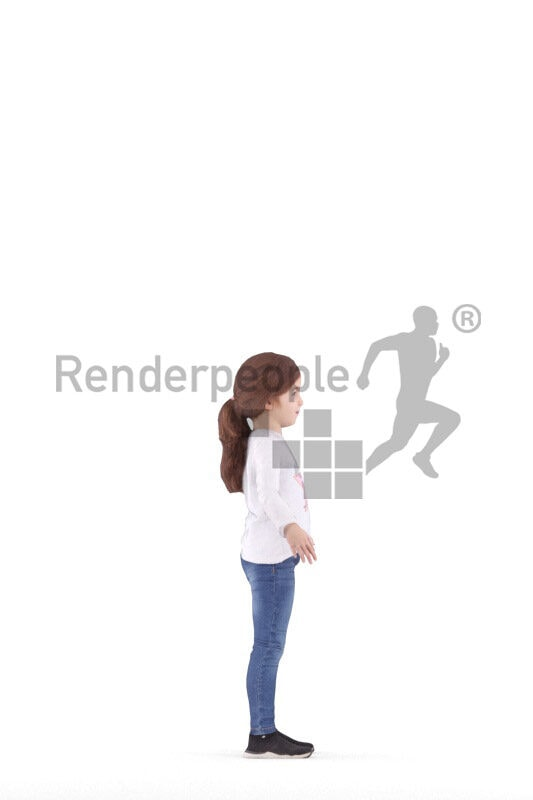 Rigged human 3D model by Renderpeople – european girl in casual jeans and longsleeve