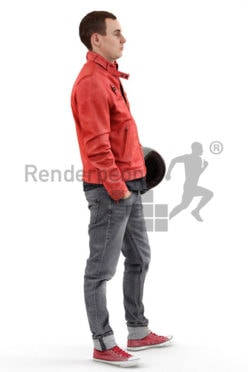 3d people casual, white 3d man wearing a red jacket and carrying a motorcycle helmet