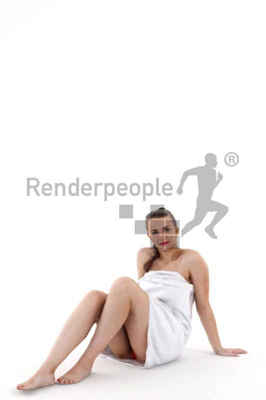 3d people spa, white 3d woman relaxing in spa