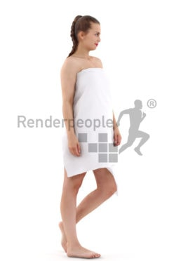 3d people spa, white 3d woman covered with a towl walking