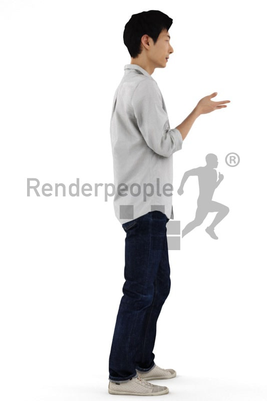 3d people casual, asian 3d man standing and gesturing