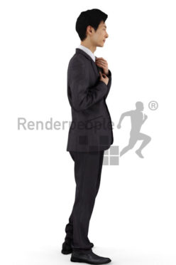 3d people business, asian 3d man wearing a suit and standing in front of a mirror