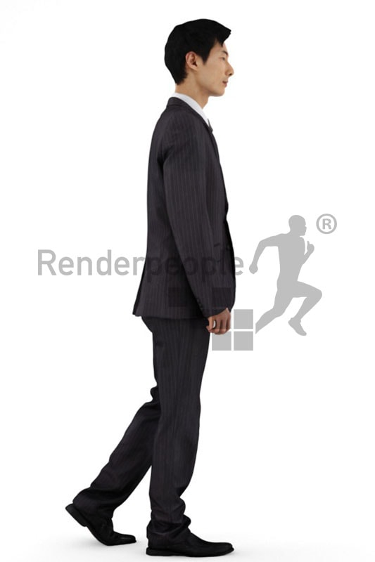 3d people business, asian 3d man wearing a suit and walking