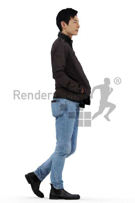 3d people casual, asian 3d men walking