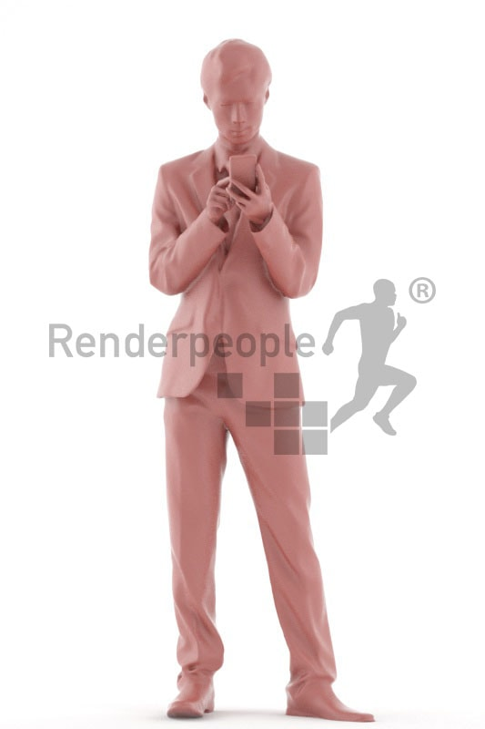 3d people business, asian 3d men standing and using his smartphone