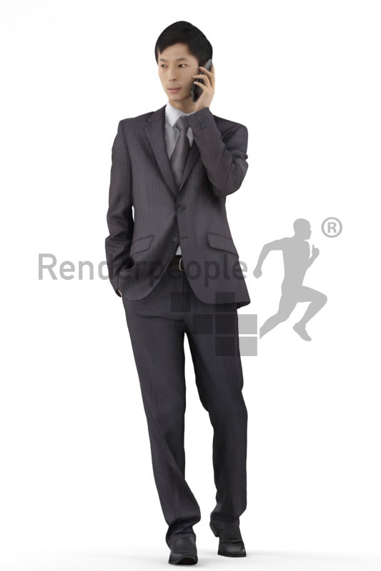 3d people business, asian 3d men walking with mobile phone