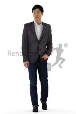 3d people business, asian 3d men walking casually