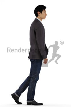 3d people casual evening, asian 3d men walking casually